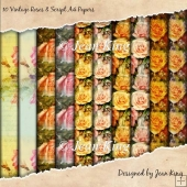 10 Vintage Roses & Script A4 Papers