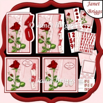 RED ROSE ALPHA & AGE KIT 7.5 or A5 Toppers Decoupage & Inserts