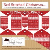 11 Red Stitched Scandinavian Style Christmas Tags