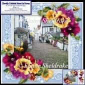 "Clovelly Cobbled Street In Devon Village - 8"" x 8"" Floral Decoup"