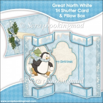 Great North White Tri Shutter Card With Matching Pillow Box
