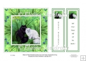 "Black & White Garden Cats - 6"" x 6"" Card Topper & Bookmark Tags"