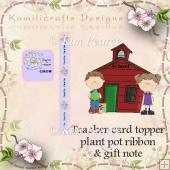 Teacher Gift Card and Ribbon for Plant Pot Plus Card Topper