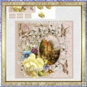 Yellow rose card with decoupage