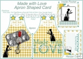 Made with Love Apron Shaped Card w/ Inside Pocket & Recipe Card