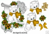 cute kitty lovely gold heart and roses & bow with a scroll