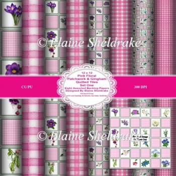 12 x 12 Pink Floral Patchwork & Gingham Quilted Tiles Set One