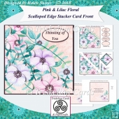 Pink and Lilac Floral Scalloped Edge Corner Stacker Card Front
