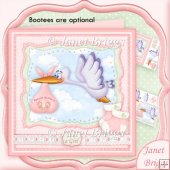Baby Girl Special Delivery Stork 8x8 Decoupage Kit