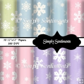 "10 12""x12"" Digital Snowflake Papers"