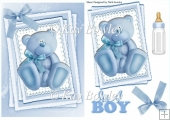 little blue gingham bear on lace stackers with bow