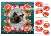 "Birman Kitty Cat & Roses - 8"" x 8"" Card Topper + Decoupage"