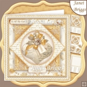 GOLD & WHITE CHRISTMAS BAUBLE 7.5 Decoupage & Insert Kit