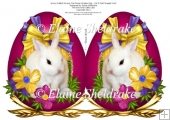 Easter Bunny Rabbits - Faberge Style Cut & Fold Easter Egg Card