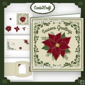 Square poinsettia card set