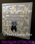 45th Sapphire Wedding Anniversary Card No2 SVG cutting file
