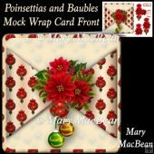 Poinsettias and Baubles Mock Wrap Card Front