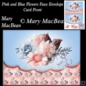 Pink and Blue Flowers Faux Envelope Card Front