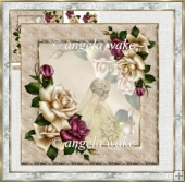 Vintage bride and roses 7x7 card with decoupage