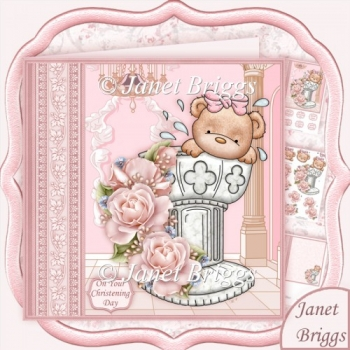 Baptism Bows Christening Day Girl Decoupage Kit