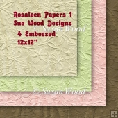 Rosaleen Embossed Papers,Pink,Green,Chocolate and Cafe Au Lait