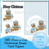 GSD Christmas Bears Card Topper Decoupage Cutting File