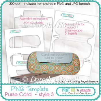 Purse Card Template 03 ~ Clutch Bag