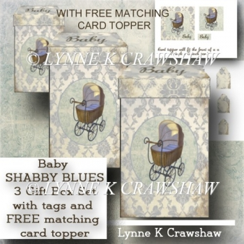 BABY Shabby Blues Gift Box Set with FREE MATCHING CARD TOPPER