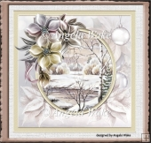 winter scene and flowers 7x7 card
