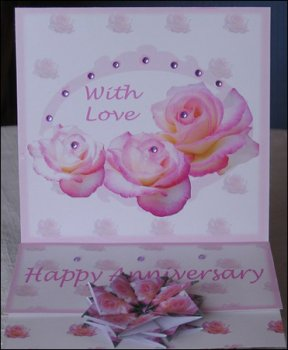 Pink Rose Happy Anniversary Easel Card