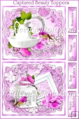 Set of 2 Cottage Chic Captured Beauty Card Toppers/ Greetings