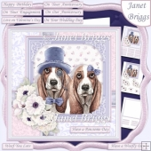 BASSET HOUNDS COUPLE 7.5 Decoupage & Insert Card Kit