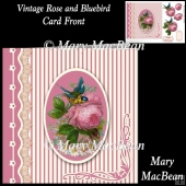 Vintage Rose and Bluebird Card Front
