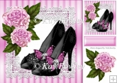 black sparkle shoes with pink flowers on lace 8x8