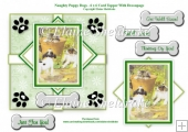 Naughty Puppy Dogs & Kitten - 6 x 6 Card Topper & Decoupage