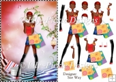 Shopping Girls! Red Shoes and Lippy Dark Skin Decoupage