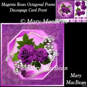 Magenta Roses Octagonal Frame Decoupage Card Front