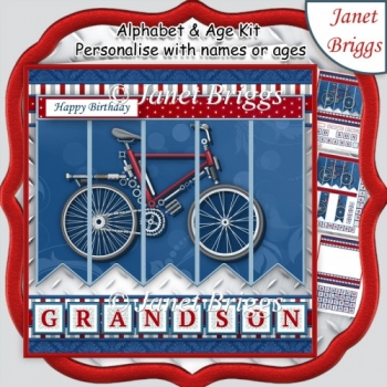 BICYCLE BIKE 7.5 Alphabet and Age Quick Card Kit Create Any Name