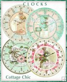 Cottage Chic Clock Faces Collage Embellishments Set