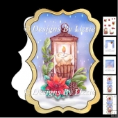 Christmas Lantern and Poinsettia Bracket Card Mini Kit