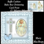 Ruffle Cushion Baby Boy Christening Card Front