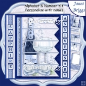 CHAMPAGNE 7.5 Alphabet Sapphire Wedding Anniversary Alphabet Kit