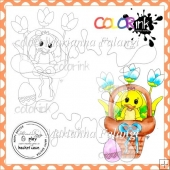 Easter Basket Chicken and Sentiment Digital Stamp