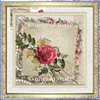 Ruby rose 7x7 card with decoupage and sentiment tags