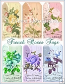 Paris Chic French Roses Tag Set