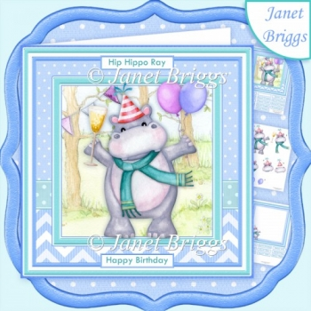 HIP HIPPO RAY IT'S YOUR BIRTHDAY 8x8 Decoupage & Insert Kit