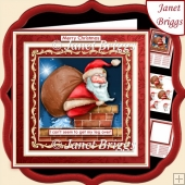 SANTA'S LEG OVER Christmas 7.7 Decoupage & Insert Kit