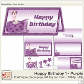 DL size Purple 1st Birthday Angel