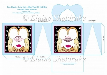 Two Hearts Love Cats Blue Cats Treat Or Gift Box For Friend