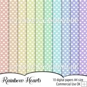 RAINBOW HEARTS - 10 x A4 digital backing papers/backgrounds CUOK